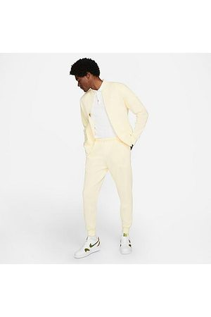 Nike Men Sports Pants - Sportswear Club Fleece Jogger Pants in Off- /Coconut Milk Size Small Cotton/Polyester/Fleece
