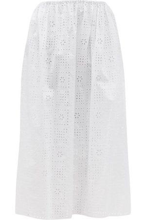 MATTEAU Women Midi Skirts - The Crochet Broderie Organic Cotton Midi Skirt - Womens