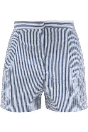 Thierry Colson Women Shorts - High-rise Striped Cotton Shorts - Womens