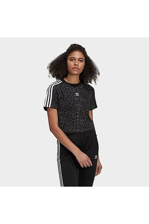 adidas Women T-shirts - Women's Originals Trefoil Animal Cropped T-Shirt in /Animal Print/ Size 2X-Small Cotton