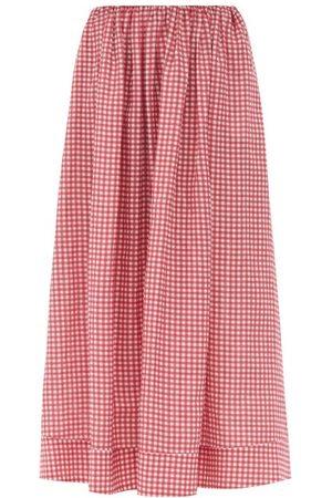Bernadette Women Printed Skirts - George Gingham Linen Maxi Skirt - Womens - Print