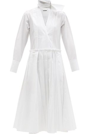 Jil Sander Neck-tie Pleated Cotton-poplin Wrap Dress - Womens