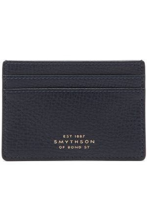 SMYTHSON Ludlow Grained-leather Cardholder - Mens - Navy