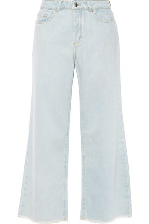 American Vintage Woman Cropped High-rise Wide-leg Jeans Light Denim Size 27