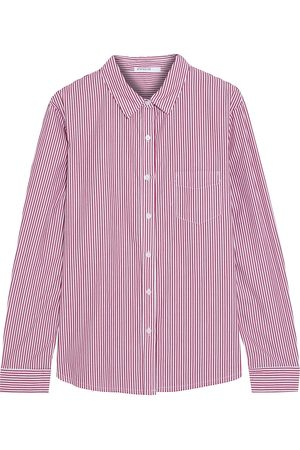 Stateside Woman Striped Cotton-poplin Shirt Claret Size L