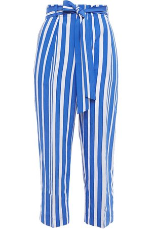 Chinti & Parker Woman Belted Striped Crinkled-jacquard Tapered Pants Size 10