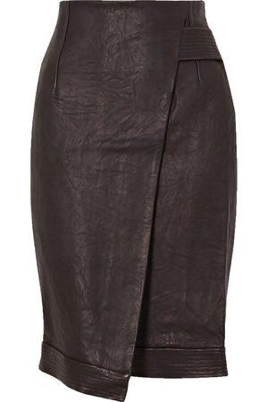 VERONICA BEARD Woman Delilah Asymmetric Wrap-effect Leather Skirt Size 4