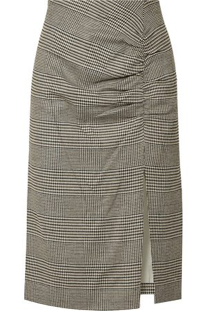 VERONICA BEARD Woman Tamic Ruched Prince Of Wales Checked Woven Skirt Size 4