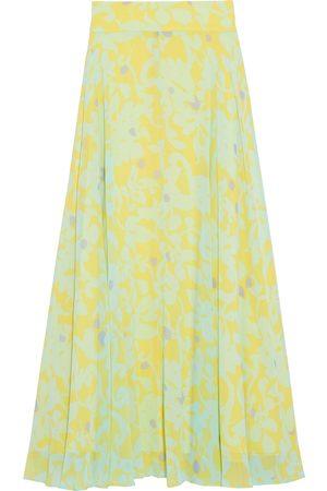 Diane von Furstenberg Woman Tonnah Printed Chiffon Maxi Skirt Mint Size 10