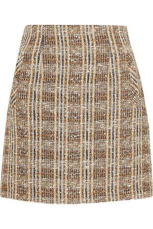 VERONICA BEARD Women Mini Skirts - Woman Roman Checked Bouclé-tweed Mini Skirt Light Size 12