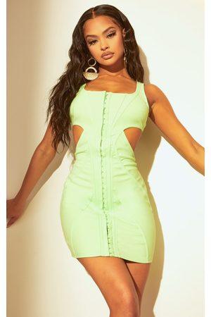 PRETTYLITTLETHING Women Bodycon Dresses - Lime Corset Cut Out Bodycon Dress