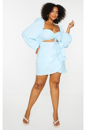 PRETTYLITTLETHING Plus Light Ruched Cut Out Bodycon Dress