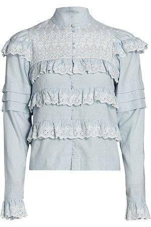 by Ti Mo Women's Ruffle Trim Linen Shirt - Light - Size Small