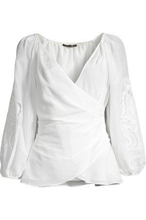 Kobi Halperin Women's Norah Embroidered-Sleeve Wrap Blouse - - Size Large