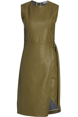 Deveaux New York Women's Elin Faux Leather Dress - Olive - Size 6