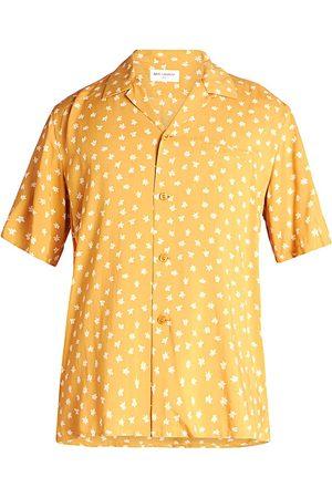 Saint Laurent Men's Short-Sleeve Printed Shirt - Ocre - Size 15.75