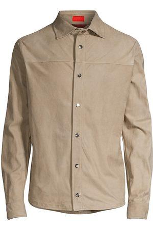 ISAIA Men's Suede Snap-Button Shirt - Dark - Size 48