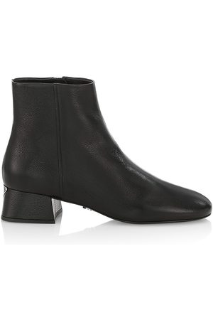 Prada Women's Logo Leather Ankle Boots - Nero - Size 12