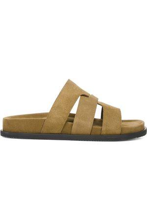 Vince Men Sandals - Men's Dorsey Suede Slide Sandals - Tumeric - Size 9