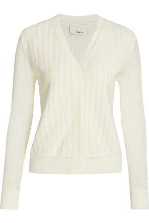 3.1 Phillip Lim Women's Crepe Cotton Lace V-Neck Cardigan - Ivory - Size Large