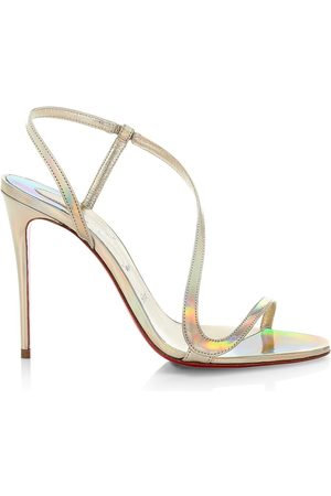Christian Louboutin Women's Rosalie 100 Iridescent Leather Slingback Sandals - - Size 12