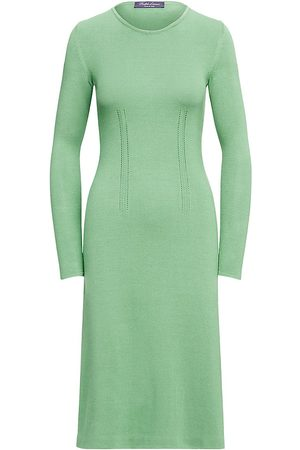 Ralph Lauren Women's Silk-Blend Long-Sleeve Sweater Dress - Celadon - Size XS