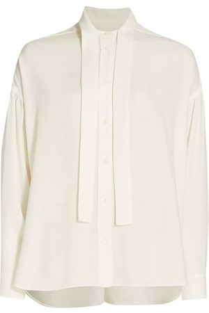 3.1 Phillip Lim Women's Tie-Neck Satin Crepe Shirt - Ivory - Size 8