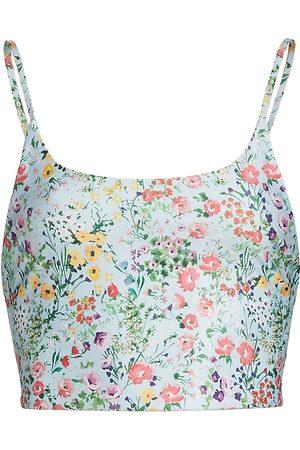 ALICE+OLIVIA Women Sports T-shirts - Women's Penny Low Scoopneck Crop Top - Coastal Gardens Powder - Size Small