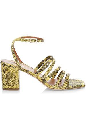 PARIS TEXAS Women Sandals - Women's Linda Snakeskin-Look Leather Sandals - - Size 9