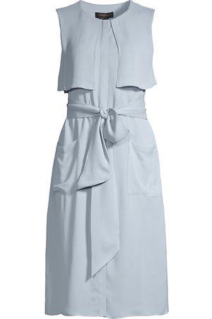 Donna Karan Women's Georgette Trench Shirtdress - Bluestone - Size XS