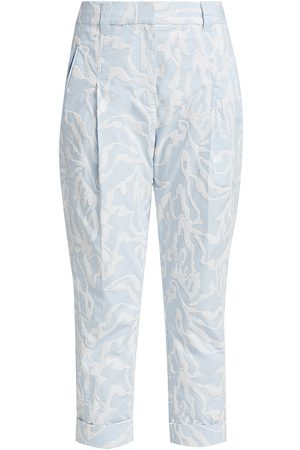 3.1 Phillip Lim Women's Abstract Animal Embroidered Tapered Pants - Ivory - Size 2