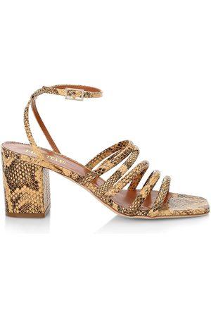 PARIS TEXAS Women's Linda Snakeskin-Look Leather Sandals - Tan - Size 10.5