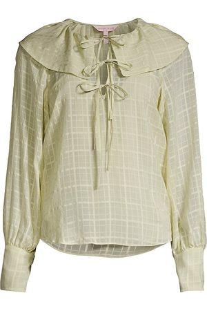 REBECCA TAYLOR Women's Daybreak Check Tie-Detail Silk Blouse - Celery - Size XL