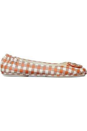 Tory Burch Women's Minnie Gingham Leather Ballet Flats - Tan Gingham - Size 9.5