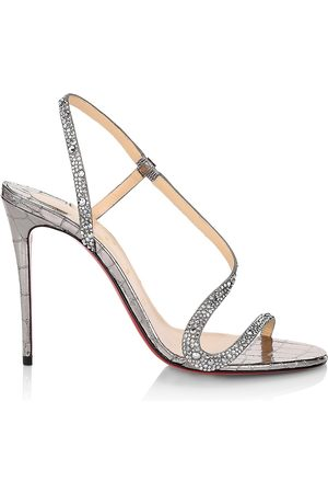 Christian Louboutin Women's Rosalie Strass 100 Metallic Leather Sandals - - Size 9
