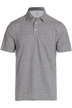 Brunello Cucinelli Men's Striped Polo Shirt - Tan - Size 46