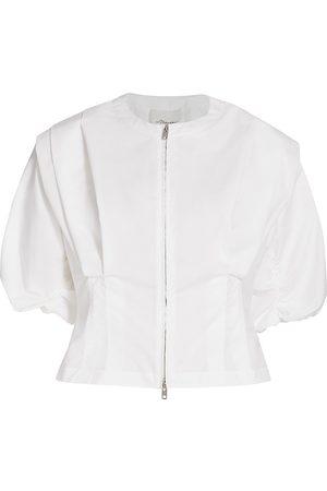 3.1 Phillip Lim Women's Puff-Sleeve Poplin Zip-Up Top - - Size 8