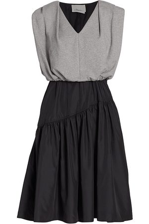 3.1 Phillip Lim Women's Combo Taffeta Skirt A-Line Dress - Grey - Size 10