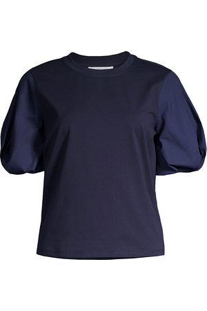 Milly Women's Monica Jersey Puff-Sleeve T-Shirt - Navy - Size Large
