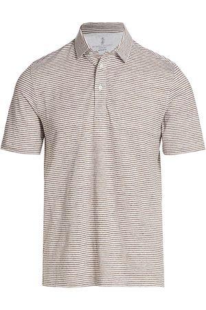 Brunello Cucinelli Men Polo Shirts - Men's Striped Polo Shirt - Mid - Size 42