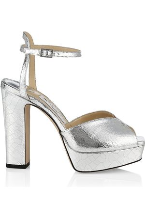 Jimmy Choo Women's Sacaria Metallic Leather Platform Sandals - - Size 9.5
