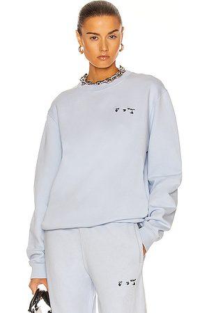 OFF-WHITE Hoodies - Logo Regular Crewneck Sweatshirt in Baby Blue