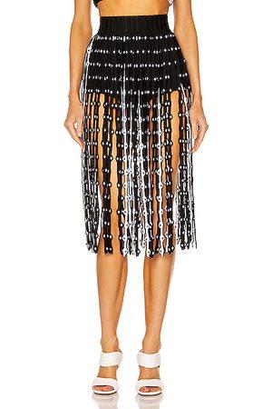 Alaïa Women Midi Skirts - Ribbed Bicolor Fringe Midi Skirt in &