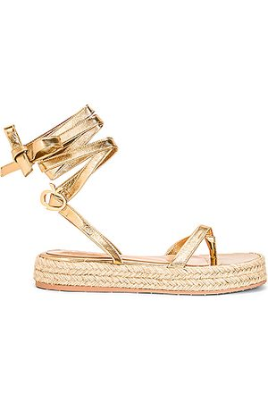 Gianvito Rossi Women Espadrilles - Gladiator Espadrille Flat Sandals in Metallic Gold