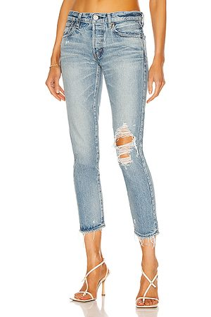 Moussy Women Raleigh Tapered in Denim-Medium