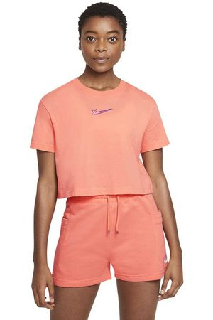 Nike Women Sports T-shirts - Sportswear Crop Print L Crimson Bliss