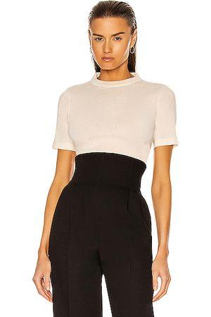 Jil Sander Women High Necks - Short Sleeve High Neck Top in Ivory