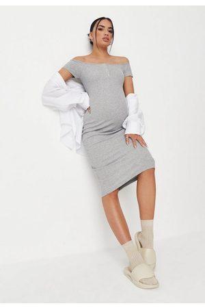 Missguided Marl Rib Popper Bardot Maternity Midi Dress