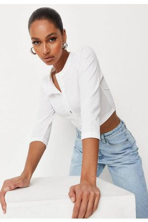 Missguided Button Front Long Sleeve Crop Top