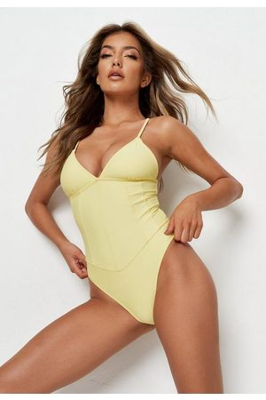 Missguided Recycled Lemon Plunge Corset Swimsuit